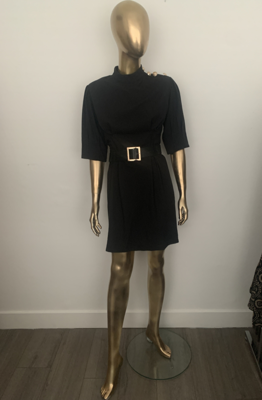 Zwart jurkje Sylvie met riem