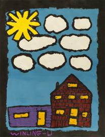 Een huis met schuur in de zon