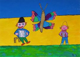 Clown met vlinder