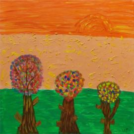 Bloemenbomen met zonsondergang