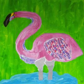Flamingo in het water