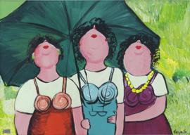 Drie dames kijken omhoog