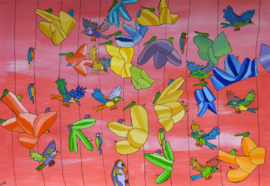 Vogels vliegen rondom