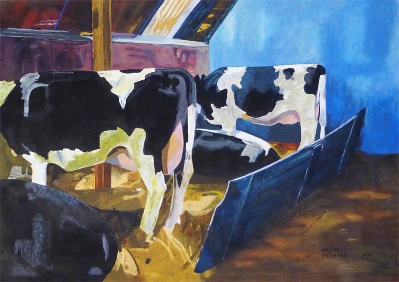 De koeien in de stal