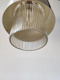 Vintage handlamp geribbeld glas en alumnium