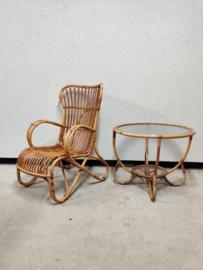 Rotan fauteuil Rohe hoge rug