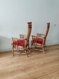Set van twee hoge rotan eetkamerstoelen