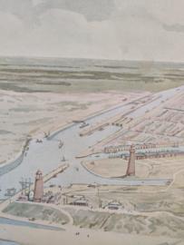 Vintage kaart sluizen IJmuiden