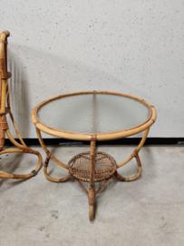Vintage Rohe rotan tafel met glas