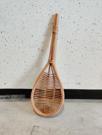 Vintage houten schep rotan