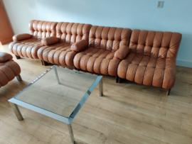 Vintage modulaire cognac leren bank