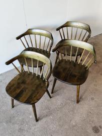 Set van 4 vintage Yngve Ekstrom spijlenstoelen