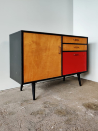 Vintage dressoir zwart/rood 110cm