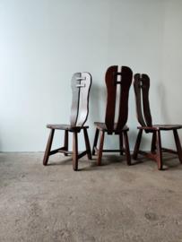 Vintage brutalist 'de puydt' stoelen, set van drie