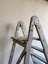 Oude schildertrap hoog mint-grijs