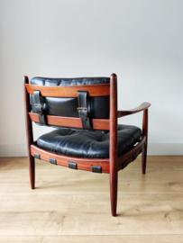 Vintage 'Cadett easy chair' door Eric Merthen, zwart leer