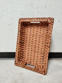Vintage dienblad metaal met vlechtwerk