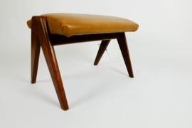 Vintage voetenbank, teak frame
