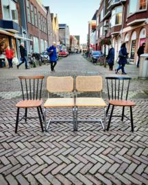 Set vintage buisframe stoelen met webbing zitting