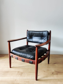 Vintage 'Cadett easy chair' door Eric Merthen, zwart leer