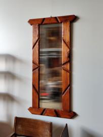 Vintage spiegel in pine lijst 126cm