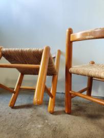 Vintage set/2 kinderstoelen met gevlochten zitting