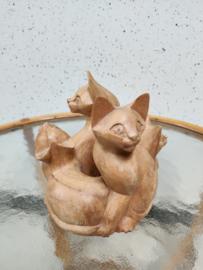 Vintage houtsnij werk katten cirkel
