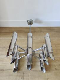 Vintage chromen hanglamp met 16 fittingen