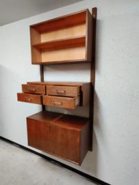 Wandmeubel teak met klepkast/desk