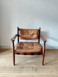 Vintage cognac leren fauteuil door Eric Merthen