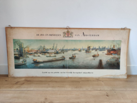 Vintage panorama kaart t IJ / Amsterdam
