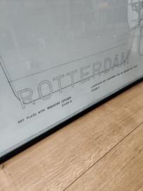XL ingelijste tekening van De Hef Rotterdam, studie uit 1990