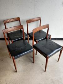 Vintage set Lubke stoelen leren bekleding
