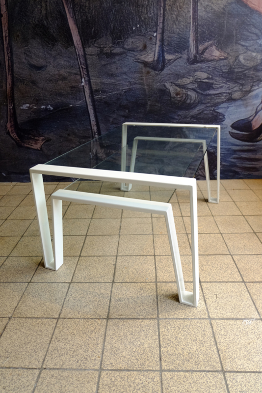 Salontafel metalen frame, zwevende glas