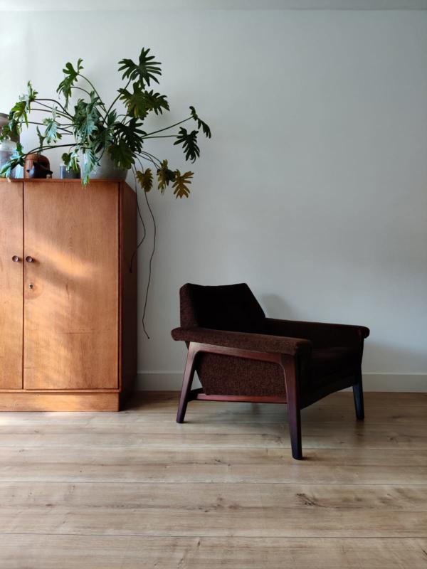 Vintage fauteuil met teak frame