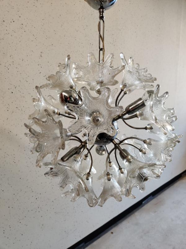Vintage sputnik hanglamp door Paolo Venini voor VeArt