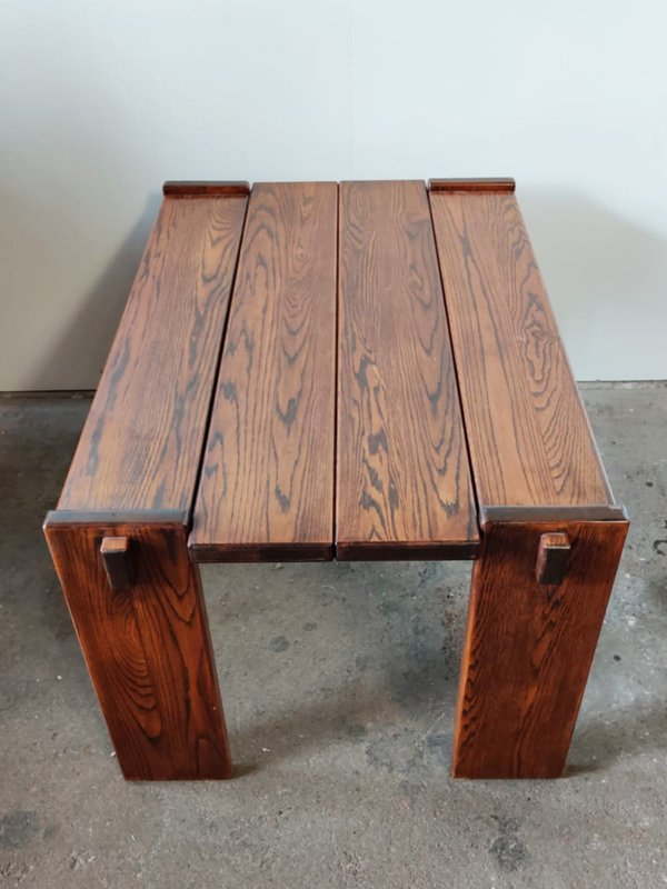 Vintage brutalist eiken tafel