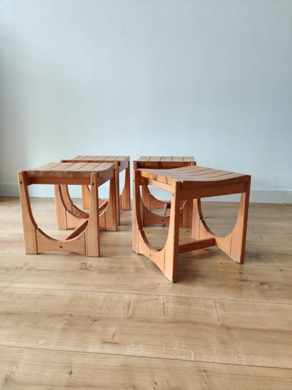 Set vintage houten krukken