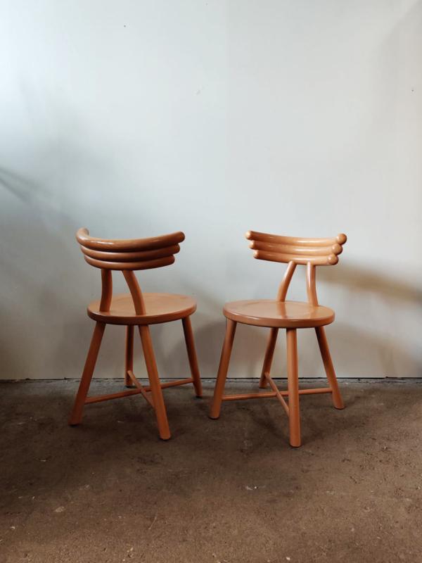 Vintage set/2 organise houten stoelen