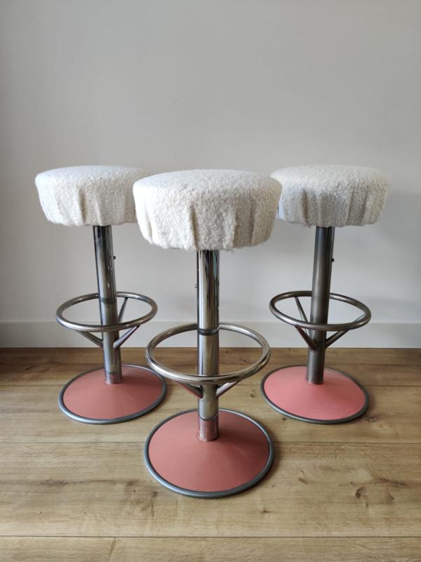 Set van drie vintage barkrukken