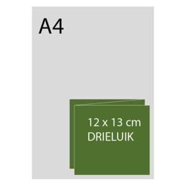 kaart 12 x 13cm drieluik, foliedruk, standaard papier, vanaf 50st