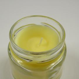 citroengele kaars in glazen potje met schroefdeksel, 20st