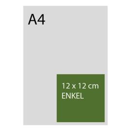 kaart 12 x 12cm foliedruk, standaard papier, vanaf 50st