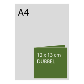 kaart 12 x 13cm dubbelgevouwen, foliedruk, standaard papier, vanaf 50st