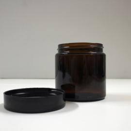 amberkleurig glazen potje met zwart deksel 60 ml, 10st