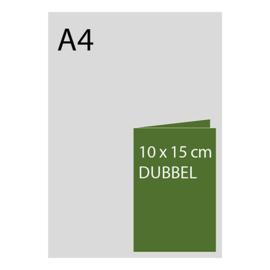 kaart 10 x 15cm dubbelgevouwen, foliedruk, standaard papier, vanaf 50st