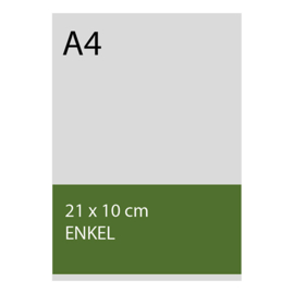 kaart 10 x 21cm foliedruk, standaard papier, vanaf 50st