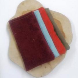 recht baksteen rood ribfluwelen zakje, 5st