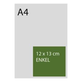 kaart 12 x 13cm foliedruk, standaard papier, vanaf 50st
