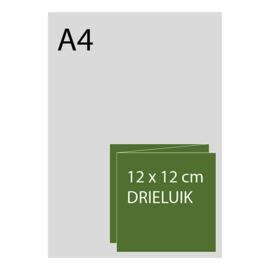 kaart 12x 12cm drieluik, foliedruk, standaard papier, vanaf 50st